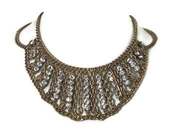 Vintage Rhinestone Statement Bib Choker Necklace