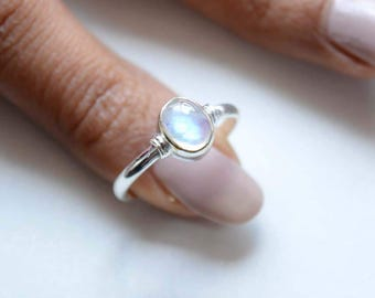 Rainbow Moonstone Sterling Silver Ring, Stackable Ring, Cabochon Rainbow Ring, 925 Silver Ring, Natural Gemstone Rings - SKU 438