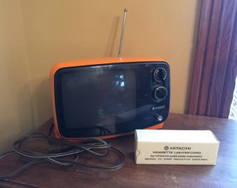 Orange Vintage Hitachi Telvision with Cigarette Lighter Cord/Vintage Orange Tv/Retro Tv