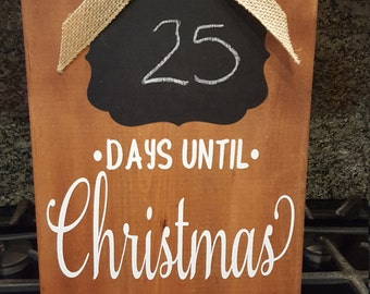 Days Until Christmas Wood Sign