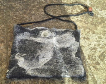 Wet felted black shoulder bag decorated with silk hankies,