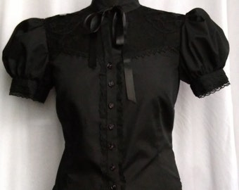 black puff sleeve lacey blouse