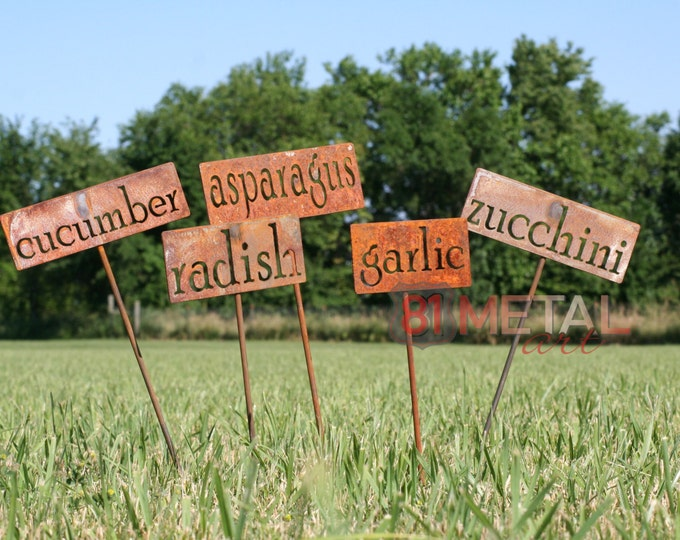 Featured listing image: Classic Metal Garden Markers, herb marker, garden marker, garden markers, vegetable marker, garden label, markers for plants, plant marker