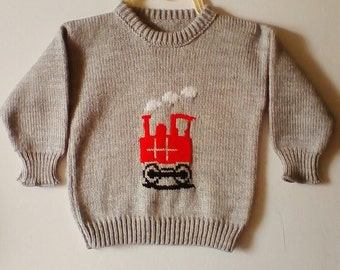 Boys Crew Neck Train Motif  Jumper Size Age 2/3 Years