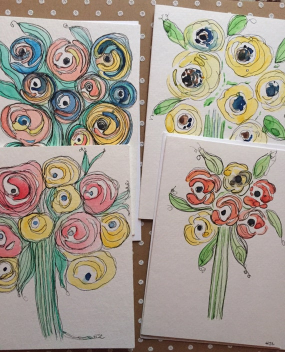 Set of 4 Cards, 4 original hand painted watercolor flower cards