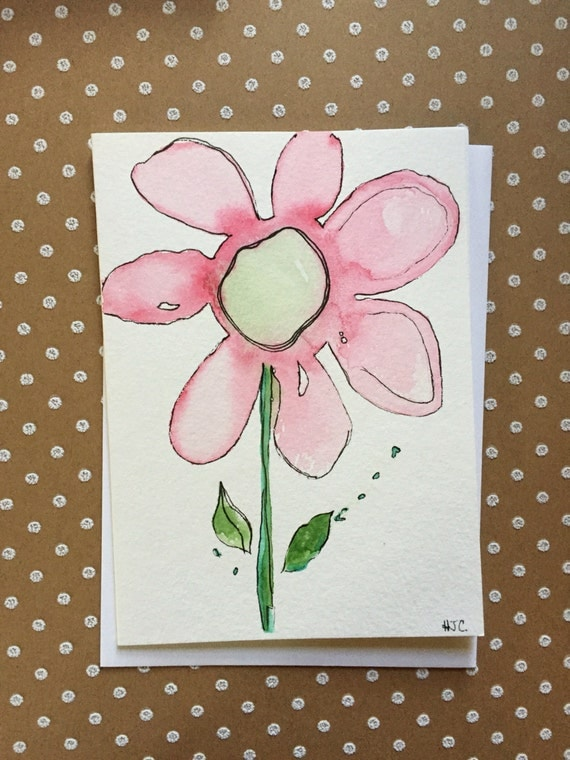 Watercolor Flower Card, Hand Painted Flower Card, Original Card, Homemade Card, Hand Painted Greeting Cards