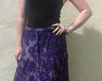Ladies Tie Dye Maxi Skirt, Full Length Hippy Gypsy Gothic Steampunk, Purple Black Rainbow  8 10 12 14