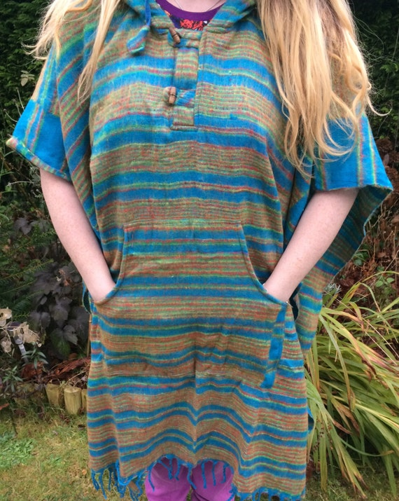 Unisex Poncho Full Length Blanket Bright Colourful Festival Boho Hippy Acrylic One Size 8-18 Blue Red Pink Purple