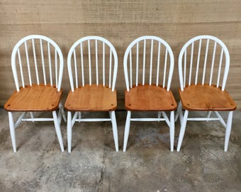 SOLD OUT** 4x hand painted Ercol 290 CC Utility Dining Chairs