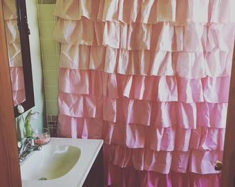 Pink Ombre Ruffled Shower Curtain
