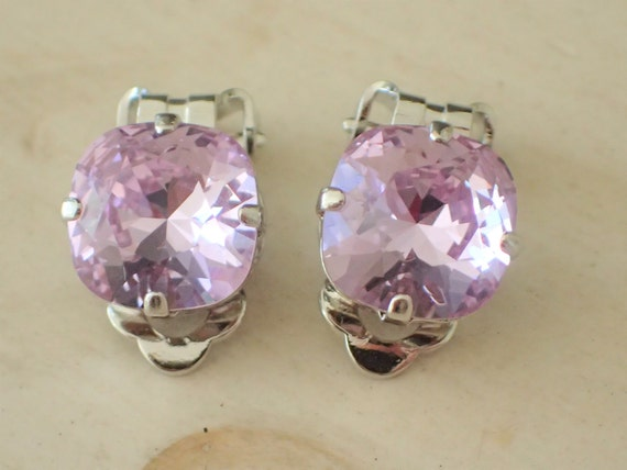 Swarovski Violet Crystal 10mm Cushion Cut Clip On Earrings, Silver