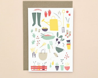 Gardening Illustrated Greetings Card A6 Blank