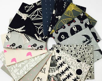 Fat Quarter Bundle Black and White 2017 by C + S  Design Team Collaboration for Cotton and Steel - 16 Fabrics