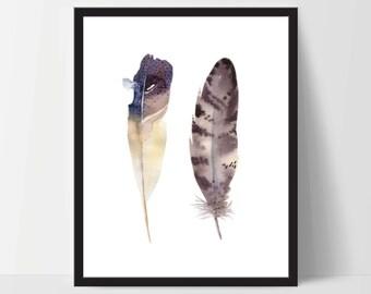 Printable Wall Art, Two Feather Art, Wall Print, Boho Art, Wall Prints, Feather Prints, Printable Art, Printable, Brown White, Watercolor
