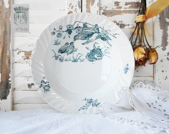 French White Ironstone Dish Serving Bowl Antique Plate Blue Birds and Bee