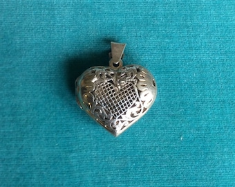 Vintage Sterling Silver Heart-Shaped Locket Pendant