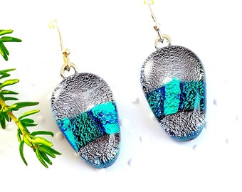 Silver Glass Earrings - Dichroic Glass Earrings - Sterling Silver ear wires - Ice Blue and Silver Dichroic Glass Earrings -