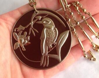Bird Pendant Bird Necklace Gold Ball Chain Gold Link Chain Vintage Bird Pendant Enamel Bird Necklace Woodpecker Pendant Bird Jewellery