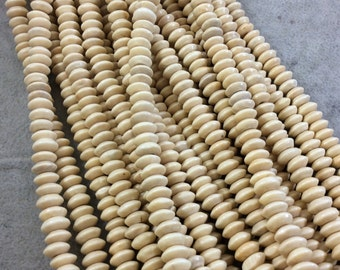 """8mm Glossy Clear-Coat Saucer Shaped Natural Light Wooden Beads with 3mm Holes - Sold by 16"""" Strands (Approx. 111 Beads) - Carved Wood Beads"""