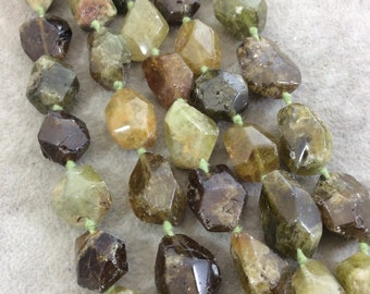 """Natural Faceted Green Garnet Nugget Shaped Beads - 16.75"""" Knotted Strand (Approx. 19 Beads) - Measuring 15mm x 20mm - High Quality Gemstone"""