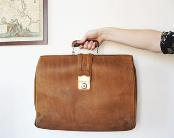 Large Vintage Leather Briefcase Erica Top Handle Bag