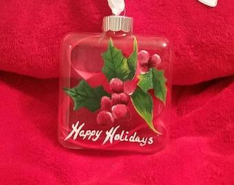 Mistle Toe Glass Ornament