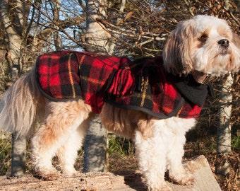Small Dog Coat, Dog Coat, Winter Dog Coat, Polar Fleece Lined, Tartan Wool Dog Coat, Custom made, Tartan Wool, Scottish Wool Blanket