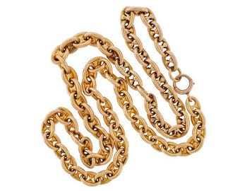 """1880s Victorian Anchor Link Necklace 14k Gold """"Gucci"""" Style"""