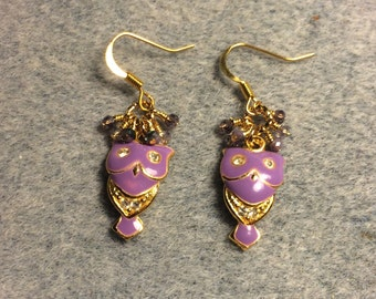 Lavender enamel and rhinestone owl charm dangle earrings adorned with tiny dangling purple and lavender Chinese crystal beads.