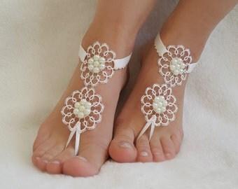 Beach weddings lace barefoot sandals free ship flexible wrist handmade  pearls country wedding bangle foot wedding accessories bridesmaids