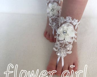 Flower girl 3D ivory silver frame lace barefoot sandals beach wedding foot accessory baby jewelry modern anklet beach gift to your daughter