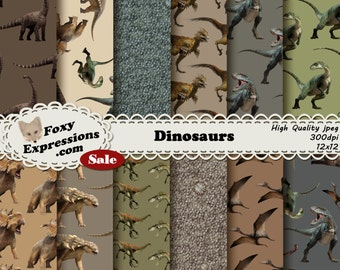 Dinosaur digital paper comes with eight different dinosaurs in greens, browns, and creams. Designs also includes dinosaur skin and scales.