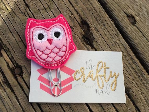 Valentine Pink Owl Clip/Planner Clip/Bookmark. Valentine's planner clips