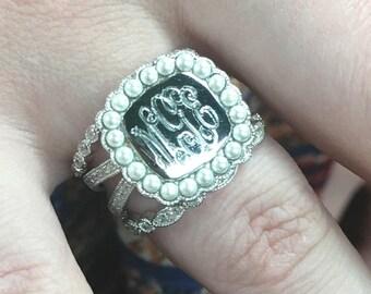 Monogram Triple Band Ring-Sterling Silver Triple Band Ring-Engravable Triple Band Ring