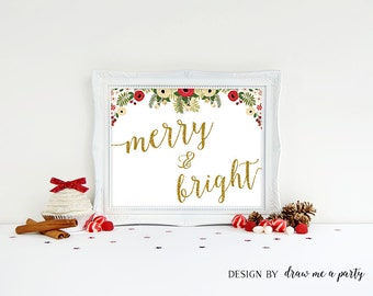 Merry and Bright Christmas Wall Art , Merry and Bright Sign , Christmas Decor , Christmas Home Decoration , Holiday Art Print , Download
