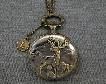 Deers Pocket Watch Antique Bronze Watch Fob Animals Mens Womens woodland Pocket Watch Pendant 46mm -for Christmas gifts -P630
