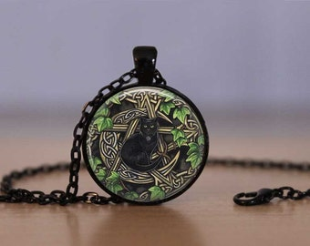 Wiccan Pendant Necklace Black Cat Witch Craft Pentagram Mens Womens