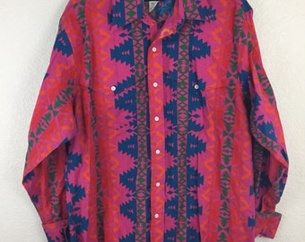 Vintage 90's Crazy Cowboy Western Wrangler Neon Aztec Tribal print Rodeo Shirt 17 1/2 36