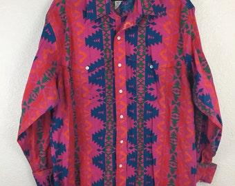Vintage 90's Crazy Cowboy Western Wrangler Neon Aztec Tribal print Rodeo Shirt 17 1/2 36