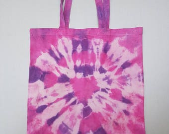 Tie dyed pink and purple tote bag.