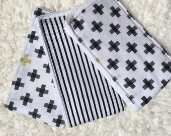 Boy Baby Burp Cloths/ Black, White, and Gold Baby Burp Cloths: Set of 3/ Cloth Diapers/ Trendy Burp Cloth/ Black White Stripes Burp Cloth