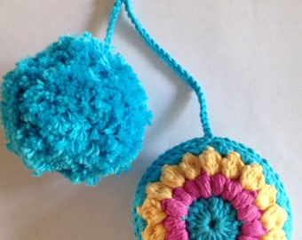 Pompom key charm/pompom bag charm/pompom backpack charm/ crochet bag charm/ crochet key charm/ gift idea/ stocking stuffer/sister gift