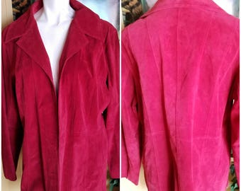 Vintage suede jacket-Size XL-Spring fashion-Office attire-Womens coat-Soft-Style-Formal-Blazer-Earth color-Flattering cut-Suits-JEANNE