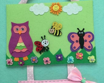 Children, baby pictures, felt, door sign with name,.