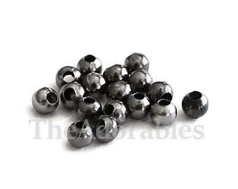 300pcs--Round  Gunmetal Metal Beads, 3mm (B60-5)
