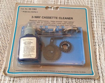 Audio cassette cleaner, 3 way realistic head cleaner new