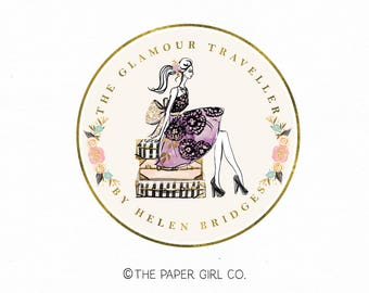 travel agent logo glamour girl logo suitcase logo travel agency logo vacation logo gold foil logo photography logo event planner logo