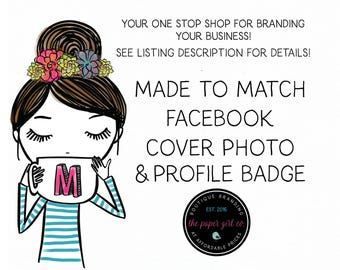 made to match facebook set design facebook cover photo facebook profile button branding set for facebook