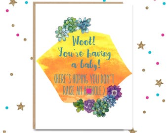 Mature, Baby shower Gift, New Baby Card, Pregnancy Card, Card for New Mom, New Mom Card, New Dad Card, New Parents Card, Funny Baby Shower