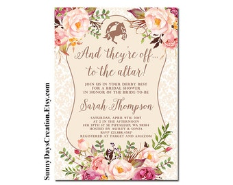 Kentucky Derby Bridal Shower Invitation, And they're off to the altar, Printable Digital File Only
